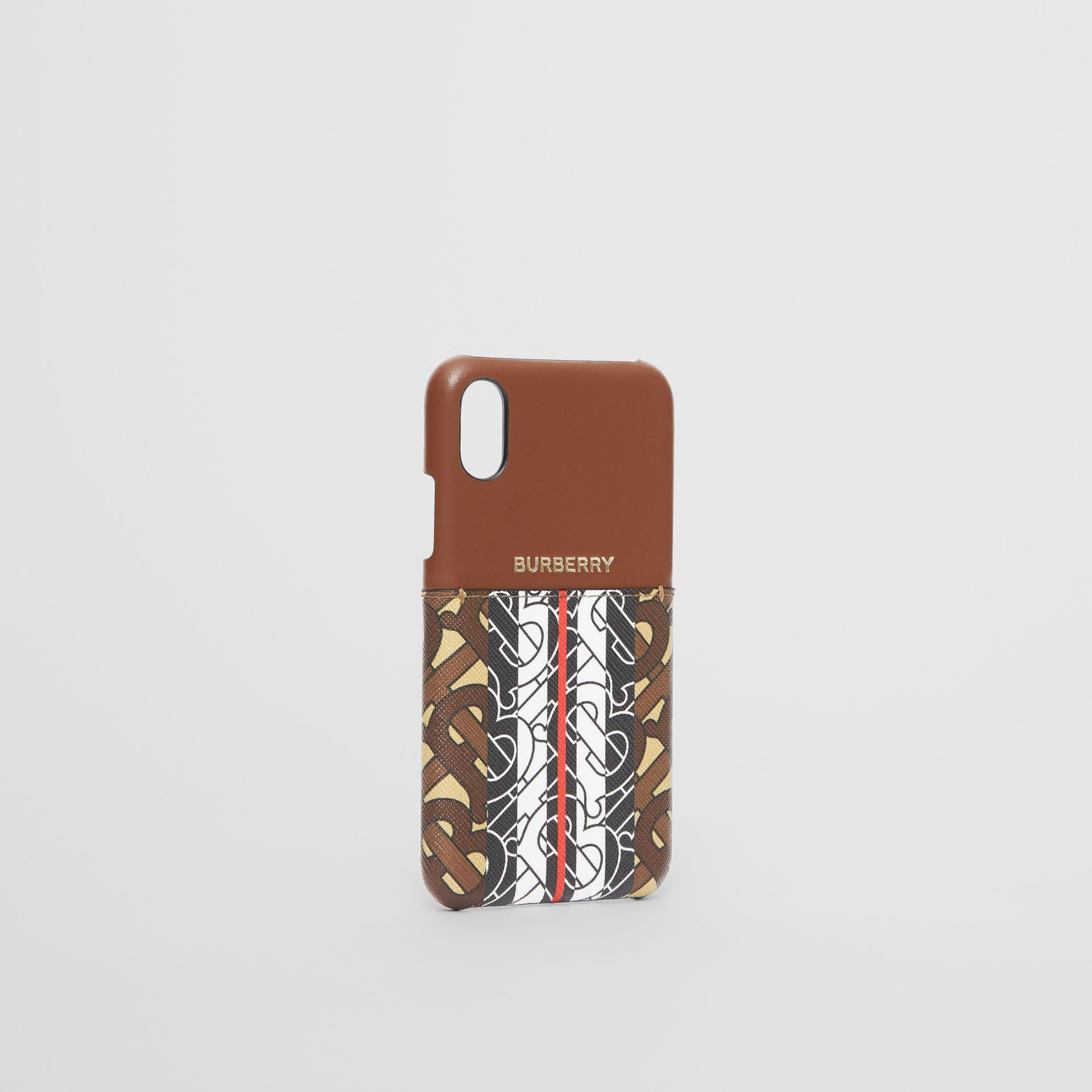 Leather and Monogram Stripe E-canvas iPhone X/XS Case in Bridle Brown | Burberry Hong Kong S.A.R - gallery image 2