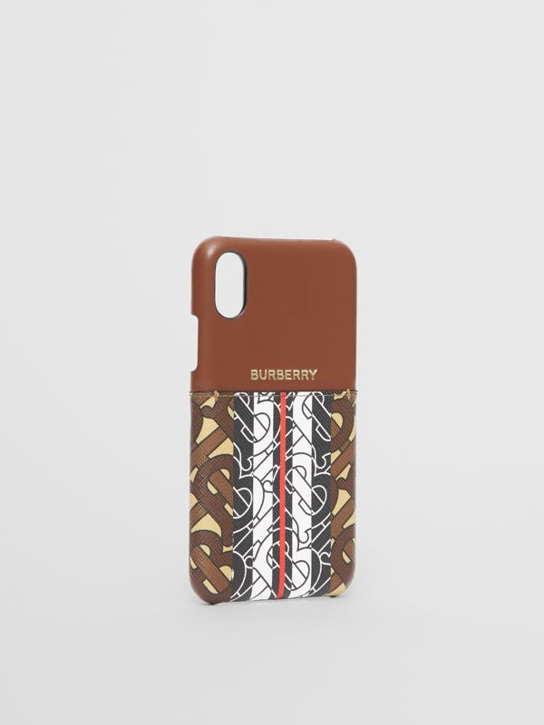 Leather and Monogram Stripe E-canvas iPhone X/XS Case in Bridle Brown | Burberry - cell image 2