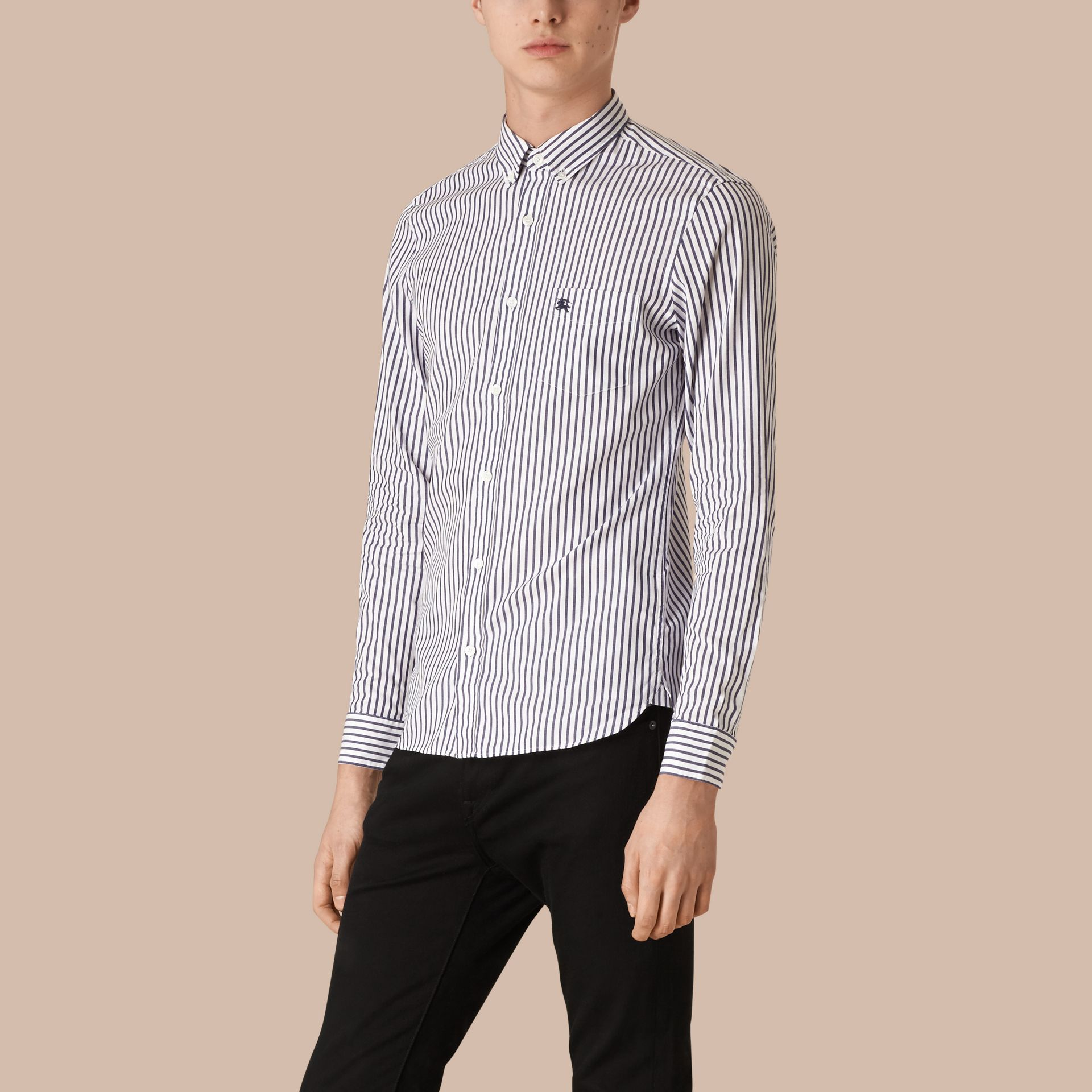 Navy Oxford Stripe Cotton Shirt - gallery image 1