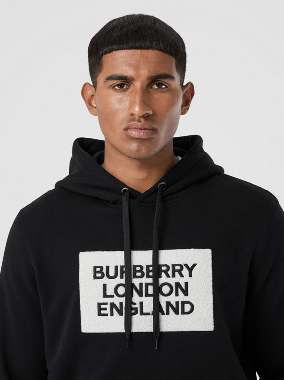 Logo Appliqué Cotton Hoodie in Black - Men | Burberry - cell image 1