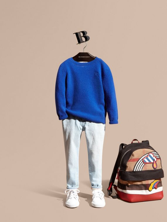 Check Elbow Patch Cashmere Sweater in Brilliant Blue