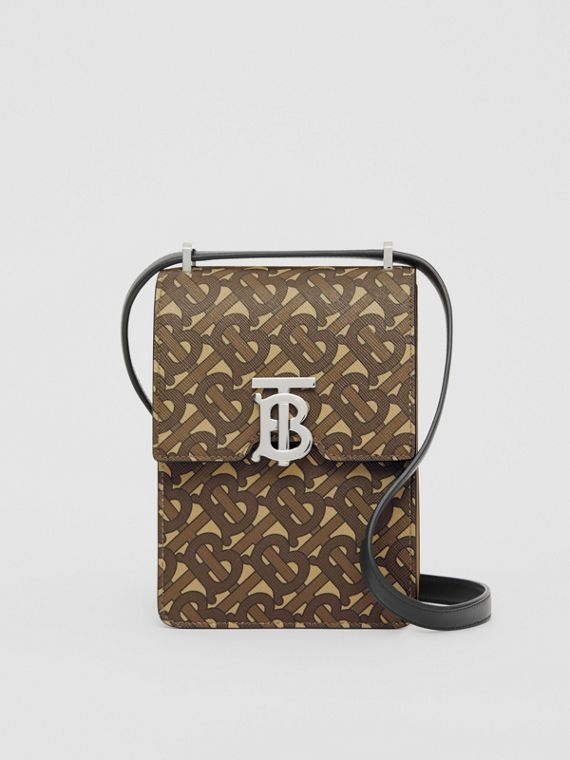 Monogram Print E-canvas Robin Bag in Bridle Brown