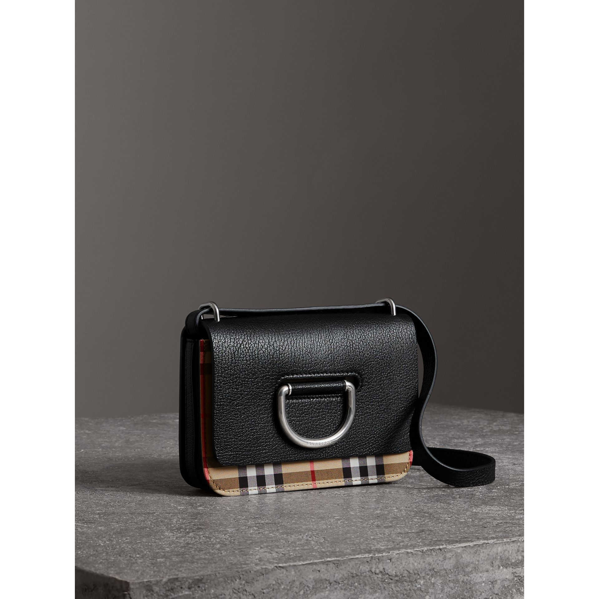The Mini Vintage Check and Leather D-ring Bag in Black - Women | Burberry Australia - gallery image 4