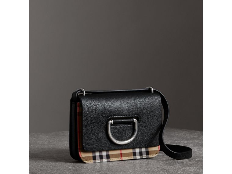 The Mini Vintage Check and Leather D-ring Bag in Black - Women | Burberry - cell image 4