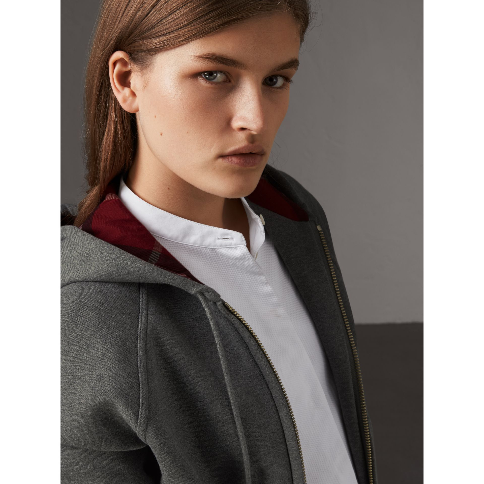 Hooded Zip-front Cotton Blend  Sweatshirt in Mid Grey Melange - Women | Burberry United Kingdom - gallery image 1