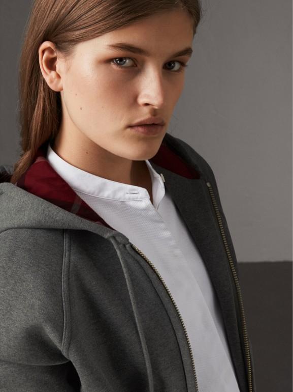 Hooded Zip-front Cotton Blend  Sweatshirt in Mid Grey Melange - Women | Burberry - cell image 1