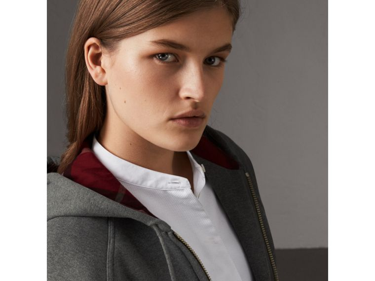Hooded Zip-front Cotton Blend  Sweatshirt in Mid Grey Melange - Women | Burberry - cell image 1