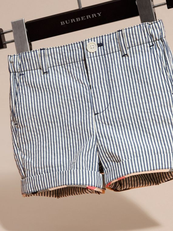 Striped Cotton Blend Shorts with Check Detail in Indigo | Burberry - cell image 2