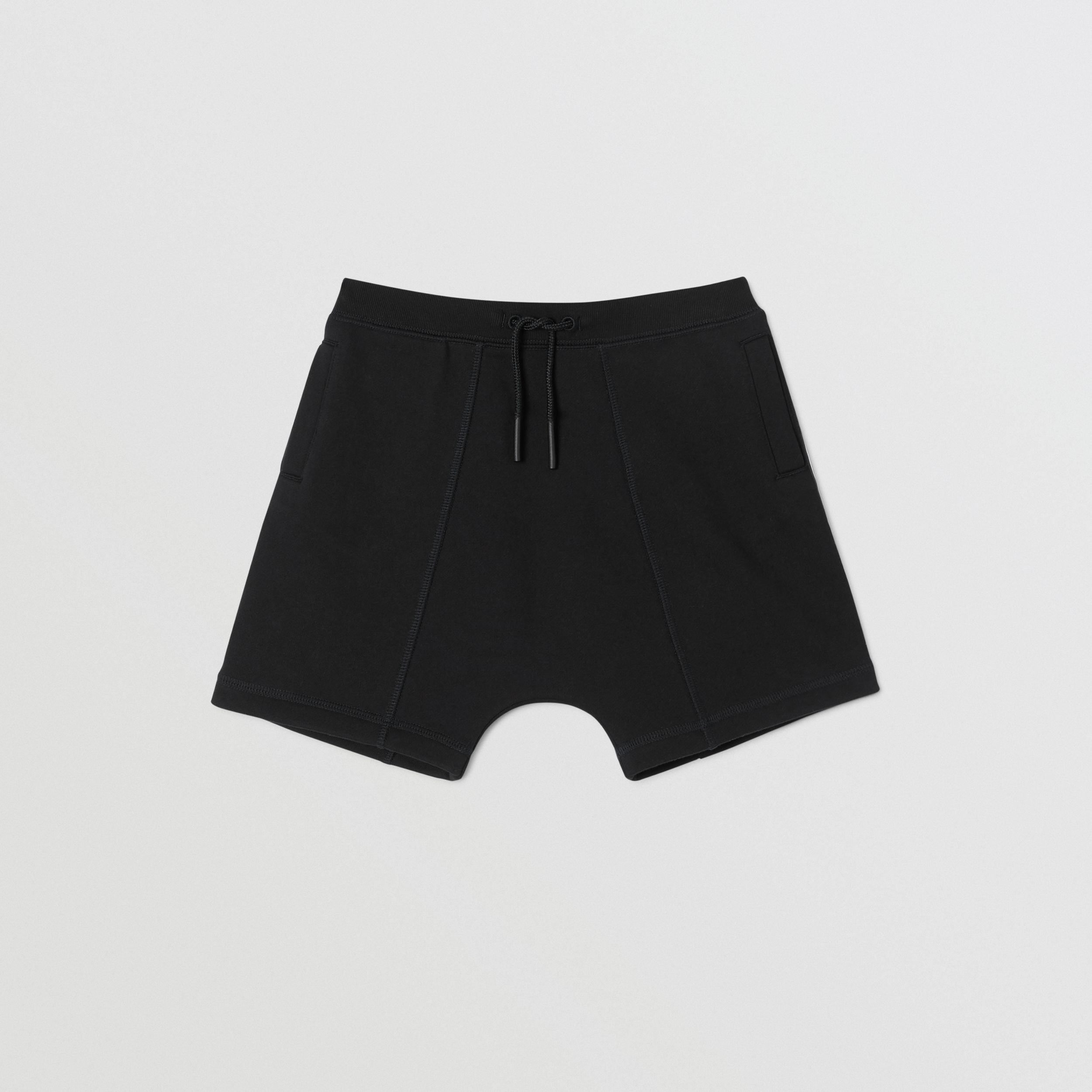 Logo Tape Cotton Drawcord Shorts in Black | Burberry Canada - 1