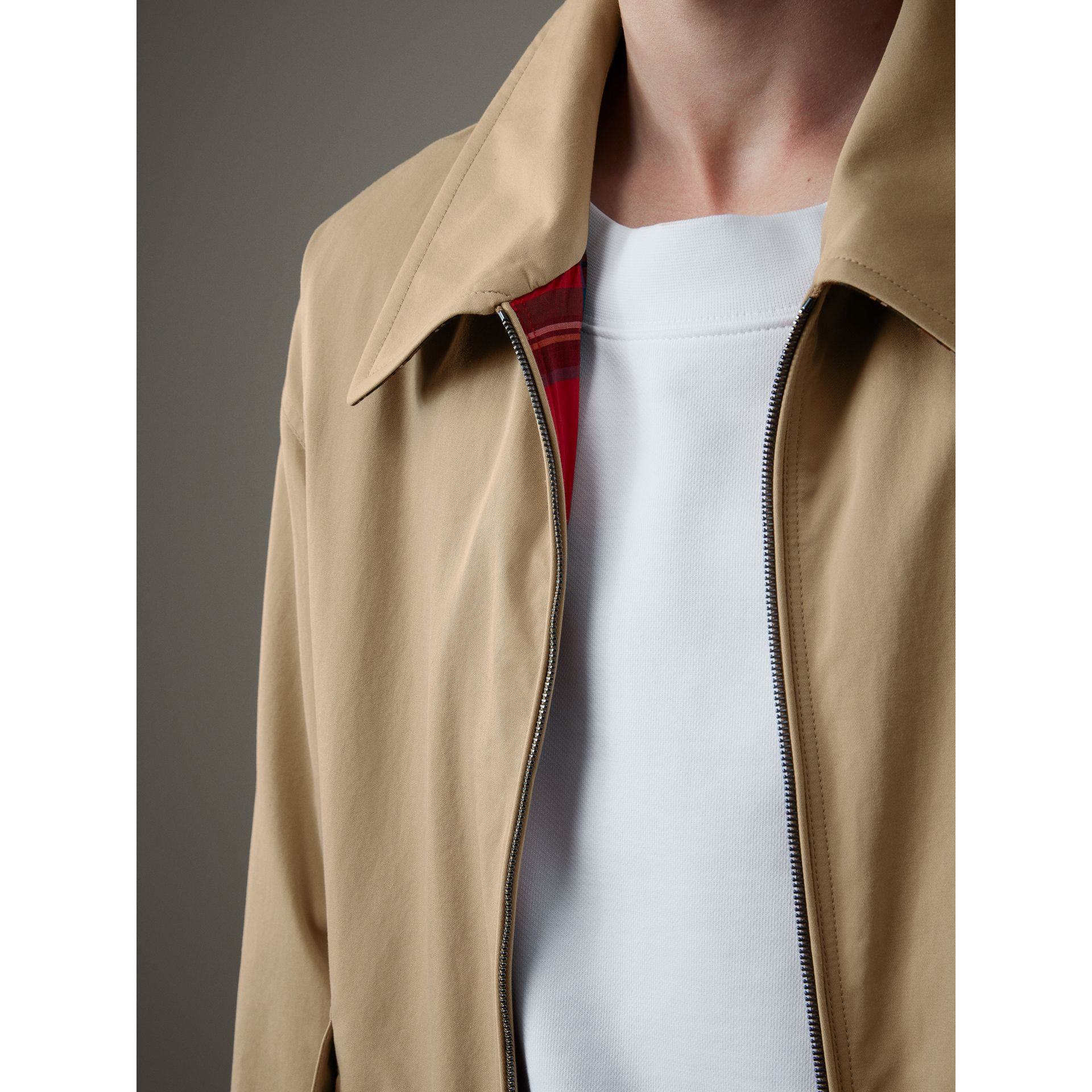 Tropical Gabardine Harrington Jacket in Honey - Men | Burberry United Kingdom - gallery image 1
