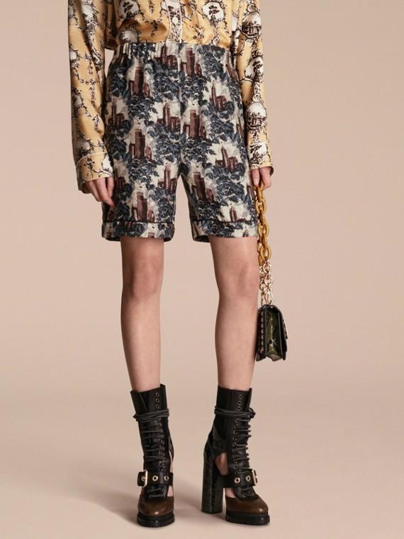 Pantaloncini in twill di seta stile pigiama con stampa castello