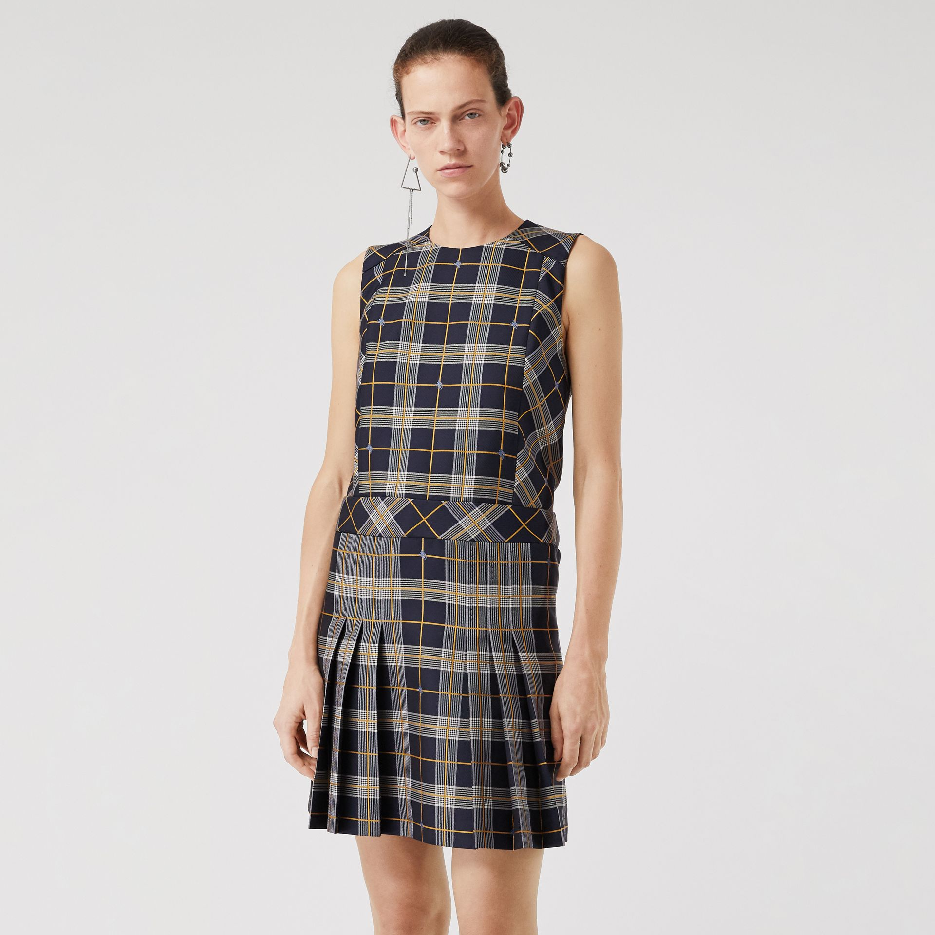 Sleeveless Pleat Detail Check Dress in Navy - Women | Burberry - gallery image 0