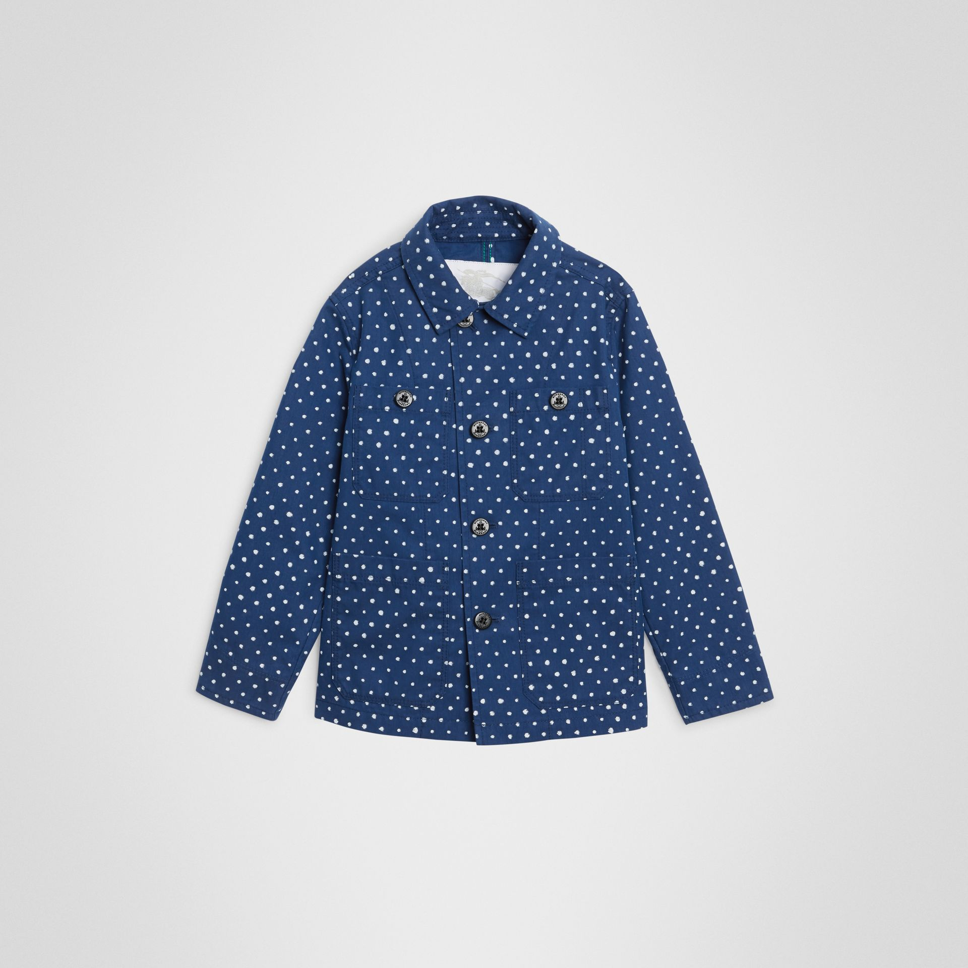 Spot Print Cotton Blend Jacket in Bright Navy | Burberry - gallery image 0