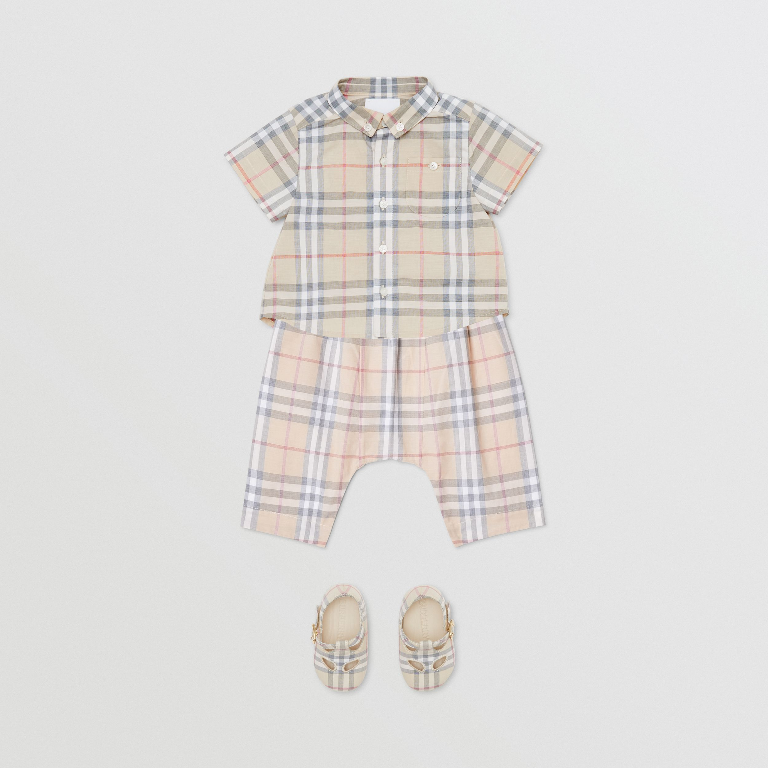 Vintage Check Cotton Drawcord Trousers in Pale Stone - Children | Burberry - 3