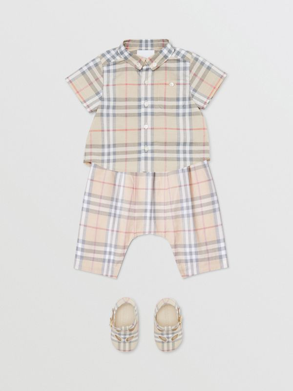 Vintage Check Cotton Drawcord Trousers in Pale Stone - Children | Burberry - cell image 2