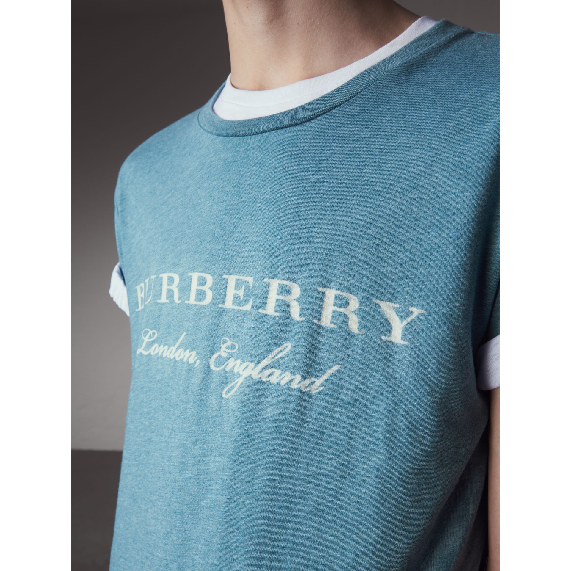 Devoré Cotton Jersey T-shirt in Cyan Blue - Men | Burberry - gallery image 2