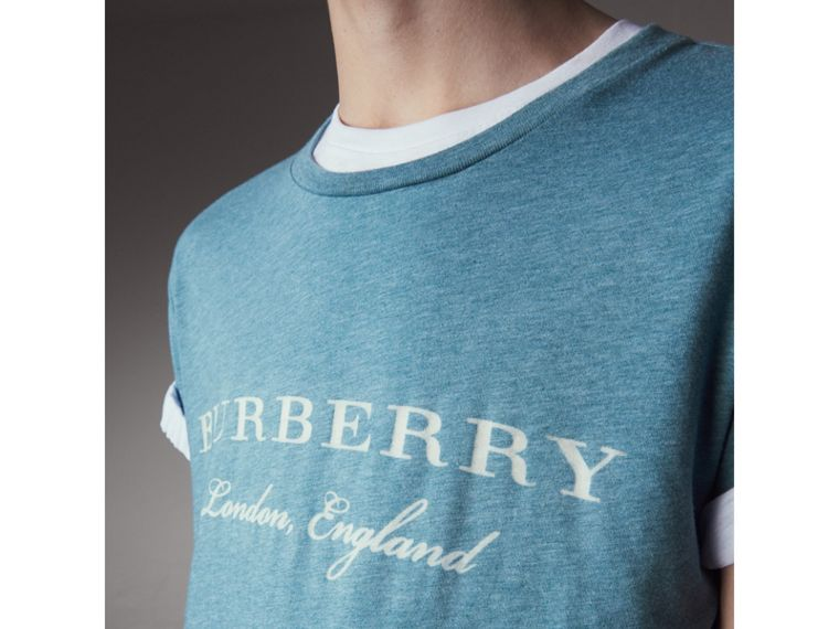 Devoré Cotton Jersey T-shirt in Cyan Blue - Men | Burberry - cell image 1