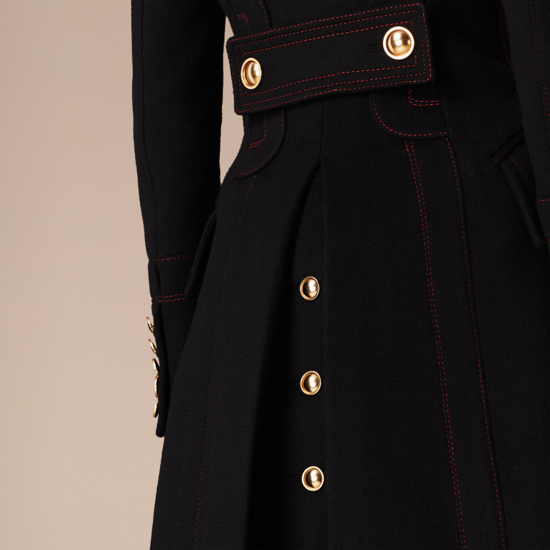 Black Wool Cashmere Military Coat - gallery image 5