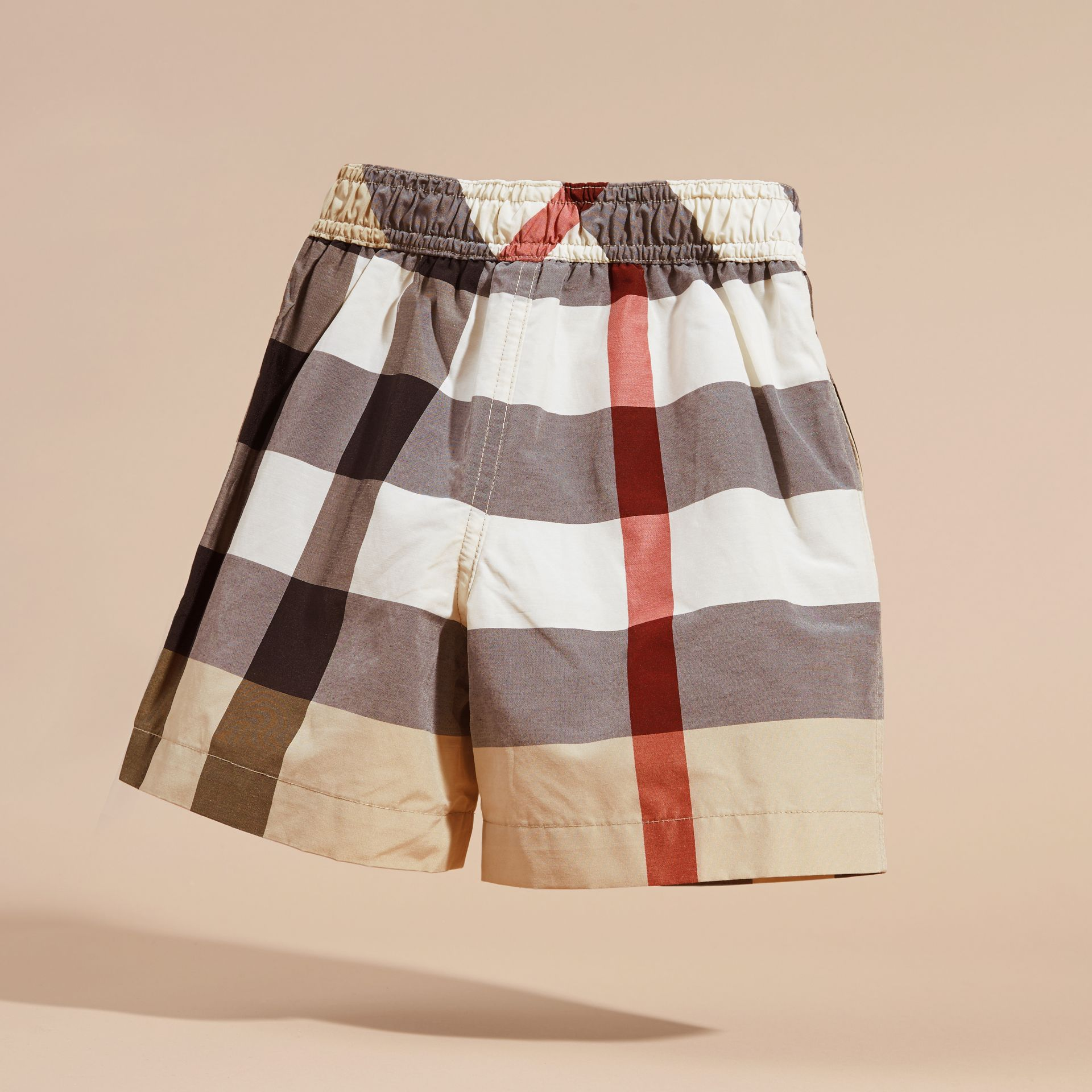 Check Technical Cotton Swim Shorts in New Classic - Boy | Burberry - gallery image 4