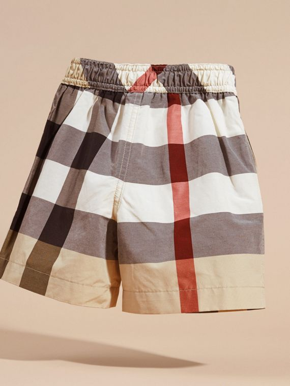 Check Technical Cotton Swim Shorts - Boy | Burberry Canada - cell image 3