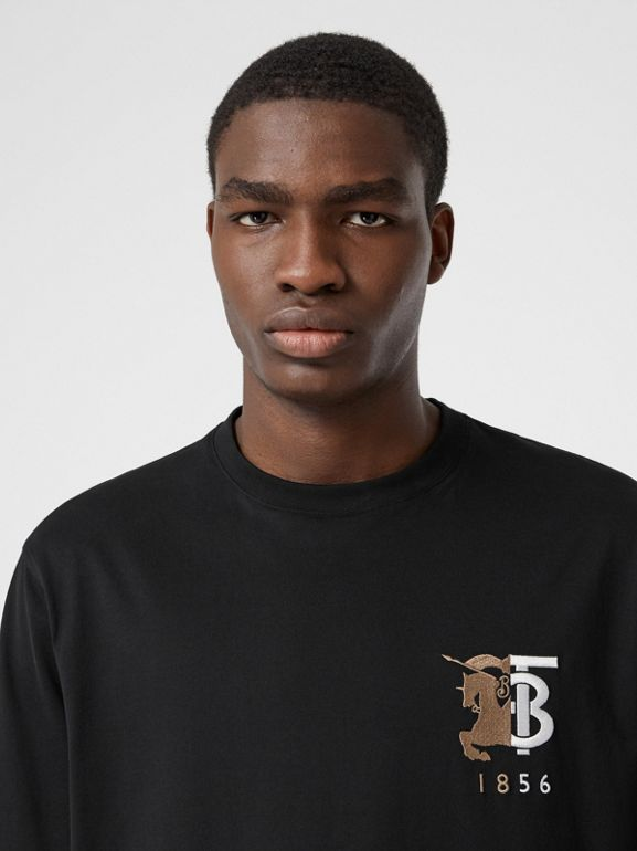Contrast Logo Graphic Cotton T-shirt in Black - Men | Burberry Hong Kong S.A.R - cell image 1