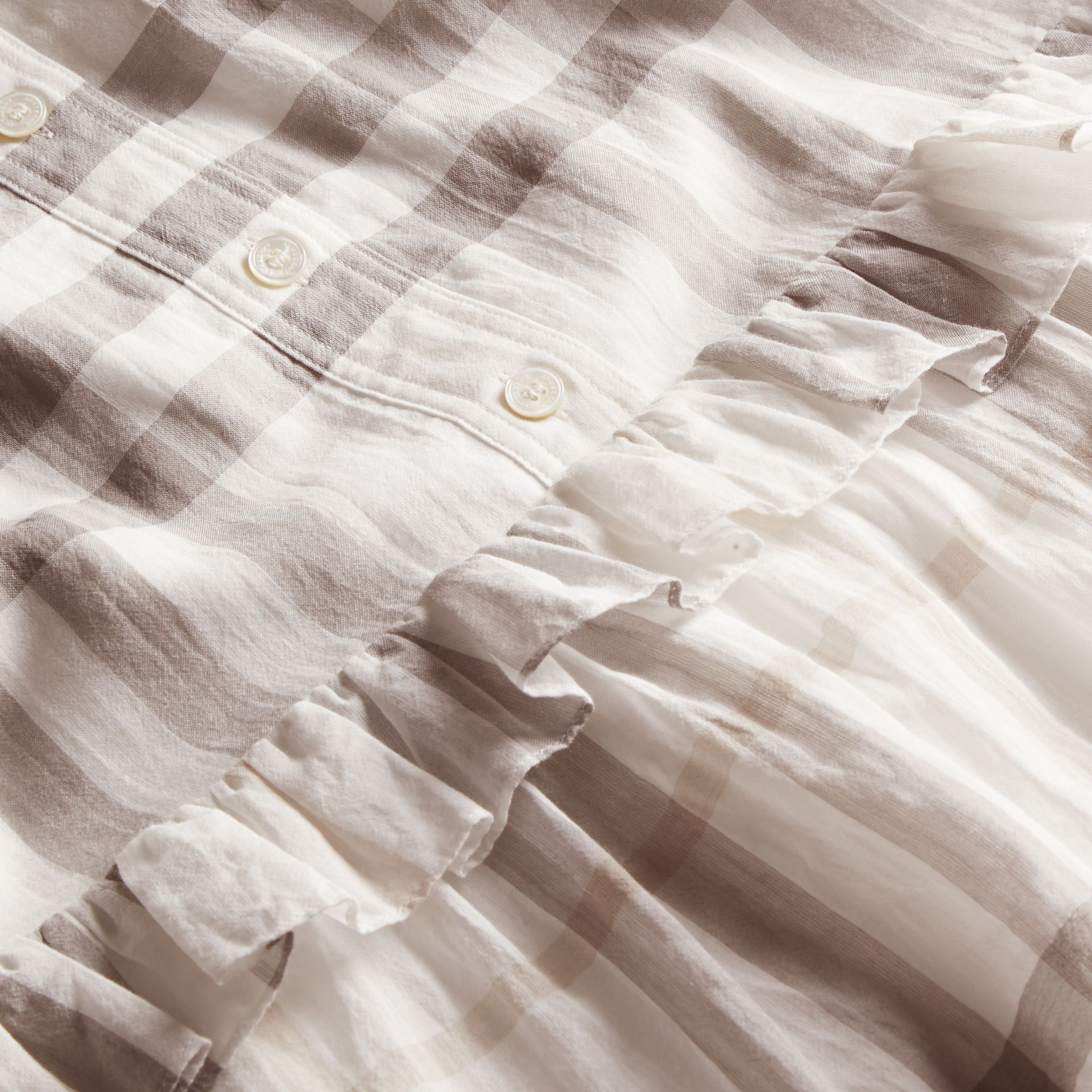Ruffle Detail Cotton Check Shirt Dress Natural White - gallery image 2