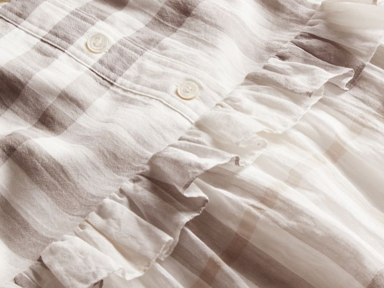 Ruffle Detail Cotton Check Shirt Dress Natural White - cell image 1