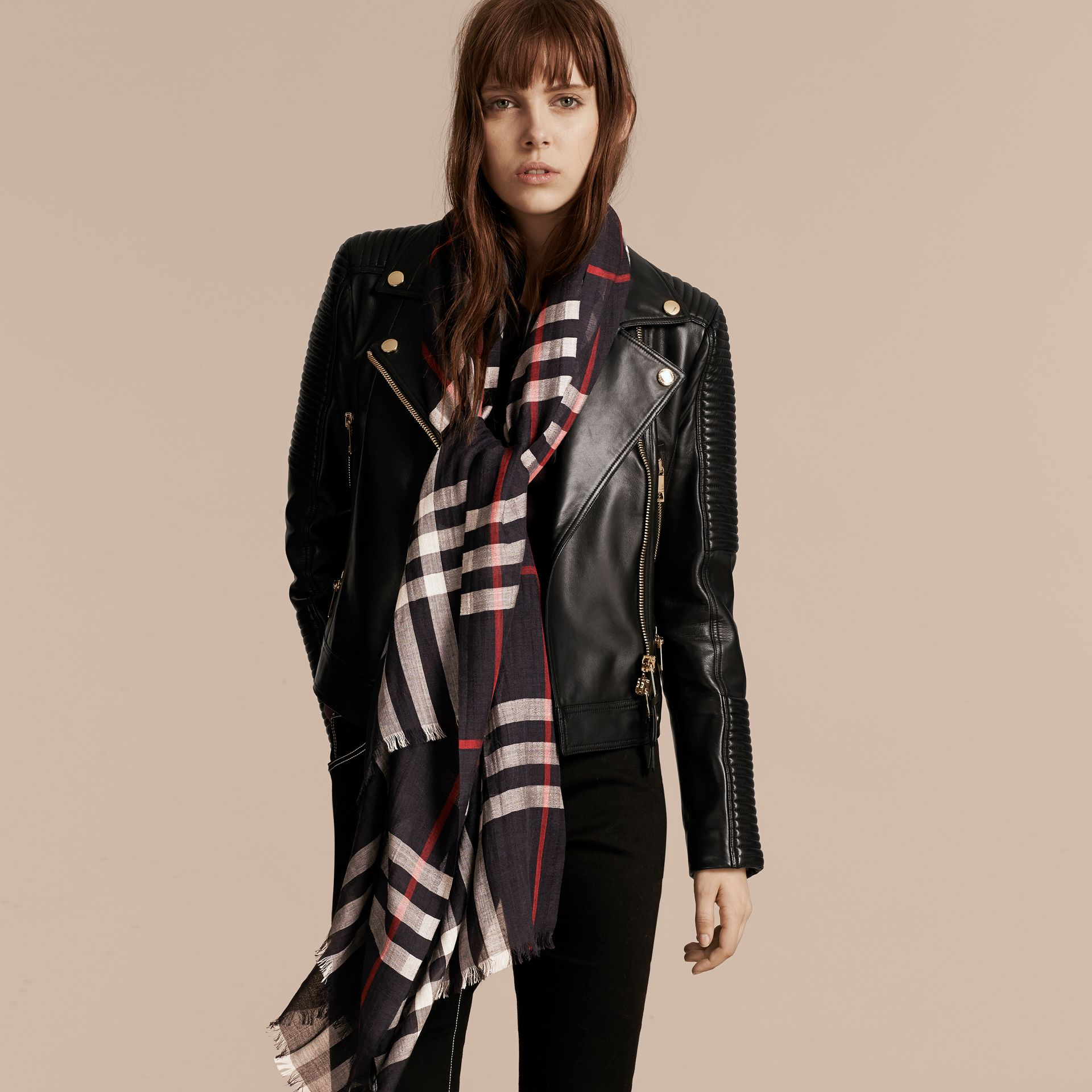 Lightweight Check Wool and Silk Scarf in Navy | Burberry - gallery image 3