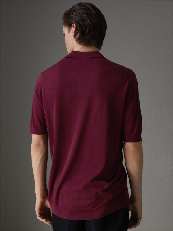 Knitted Silk Polo Shirt in Dark Crimson - Men | Burberry Australia - cell image 2