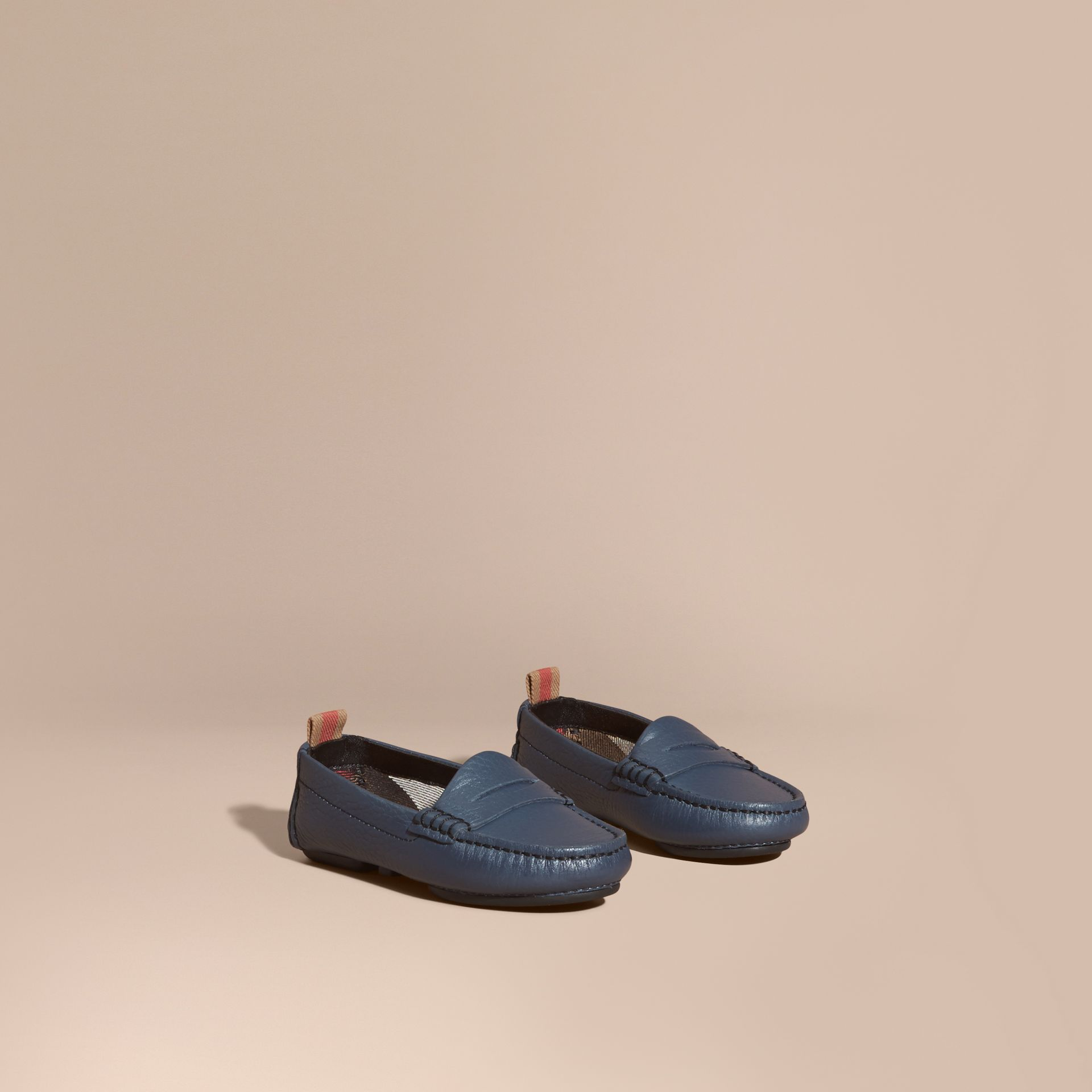 Dark mineral blue Leather Loafers - gallery image 1