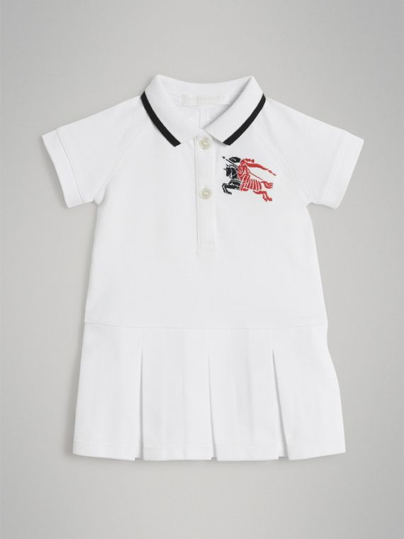 Logo Detail Tipped Cotton Polo Dress in White