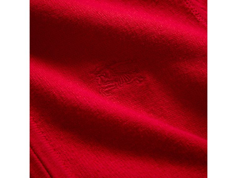 Check Elbow Patch Cotton Bomber Cardigan in Military Red - Boy | Burberry - cell image 1