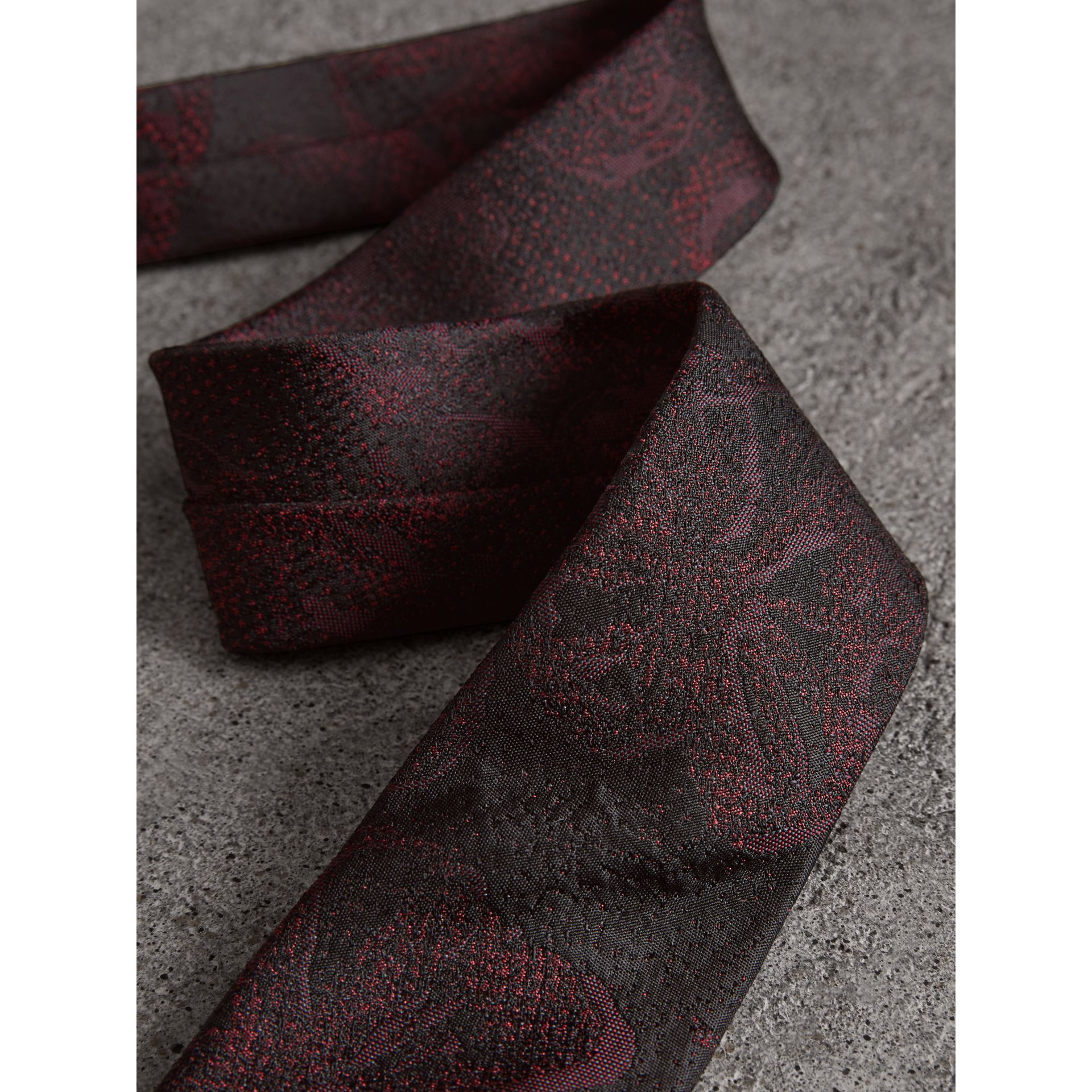 Slim Cut Floral Silk Jacquard Tie in Deep Claret - Men | Burberry - gallery image 1