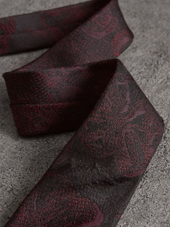 Slim Cut Floral Silk Jacquard Tie in Deep Claret - Men | Burberry - cell image 1