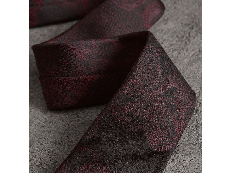 Slim Cut Floral Jacquard Silk Tie in Deep Claret - Men | Burberry - cell image 1