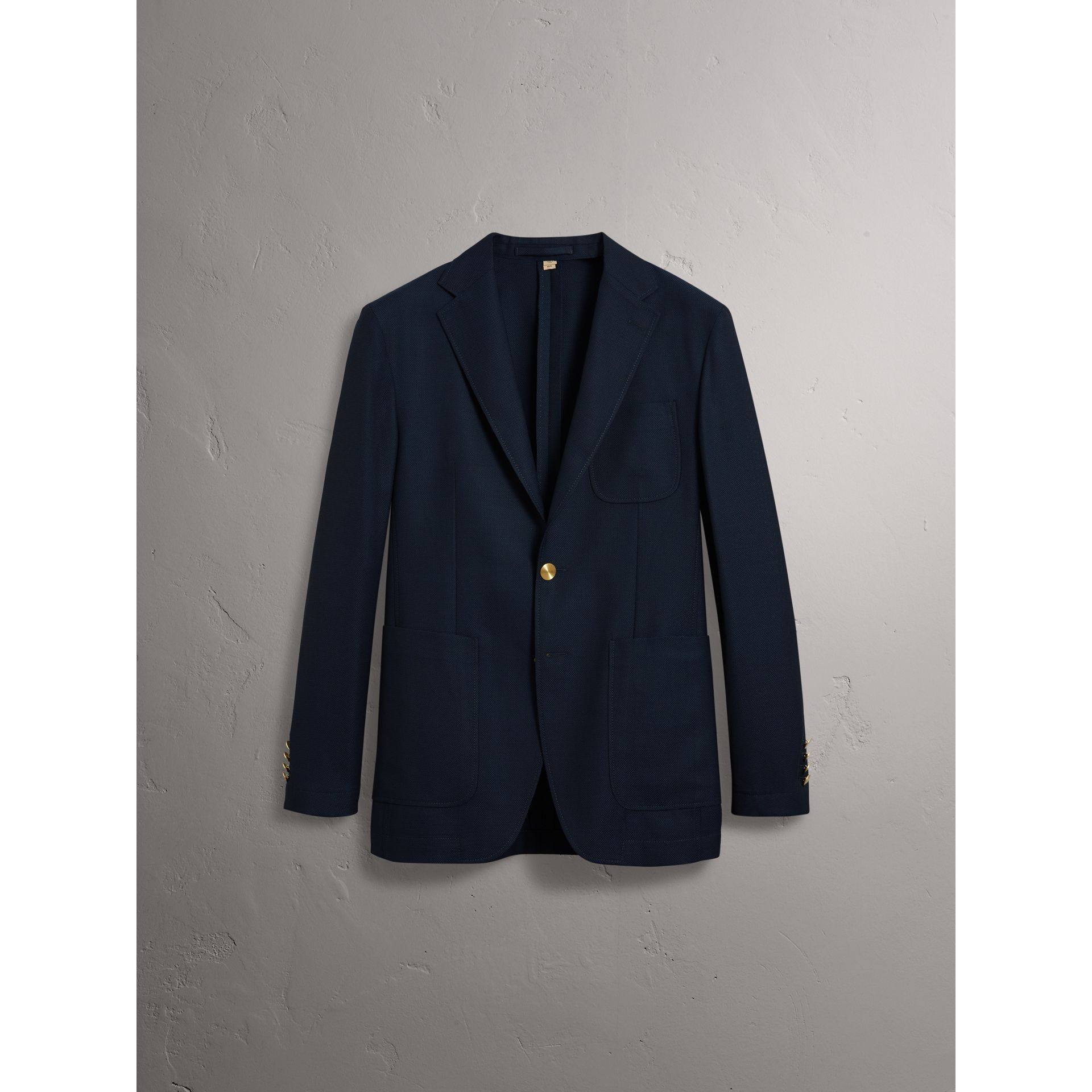 Slim Fit Wool Hopsack Tailored Jacket in Navy - Men | Burberry Australia - gallery image 4