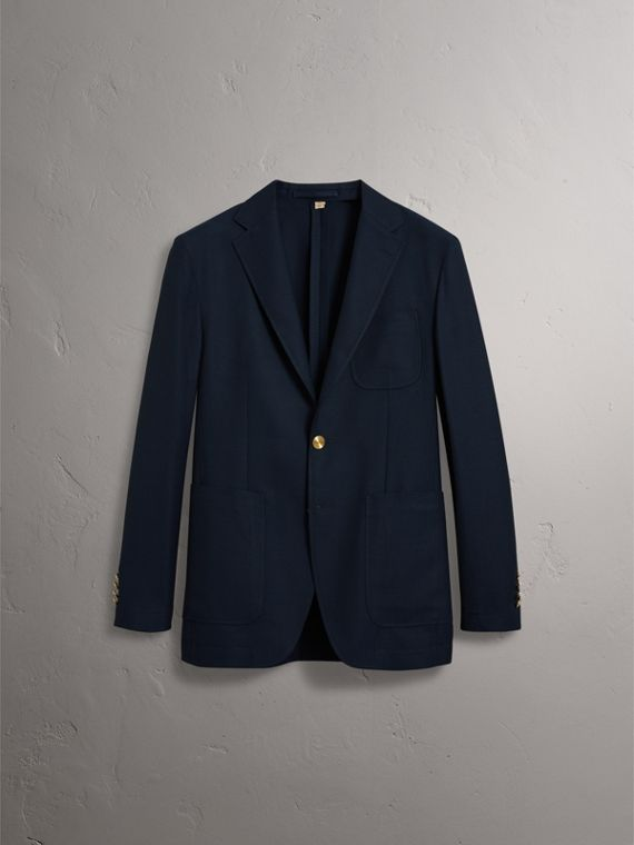 Slim Fit Wool Hopsack Tailored Jacket in Navy - Men | Burberry Australia - cell image 3