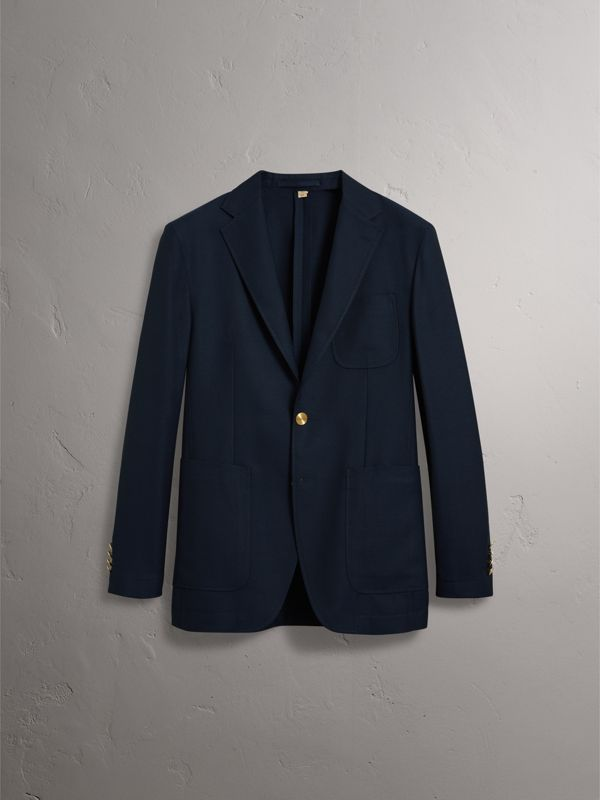 Slim Fit Wool Hopsack Tailored Jacket in Navy - Men | Burberry United Kingdom - cell image 3