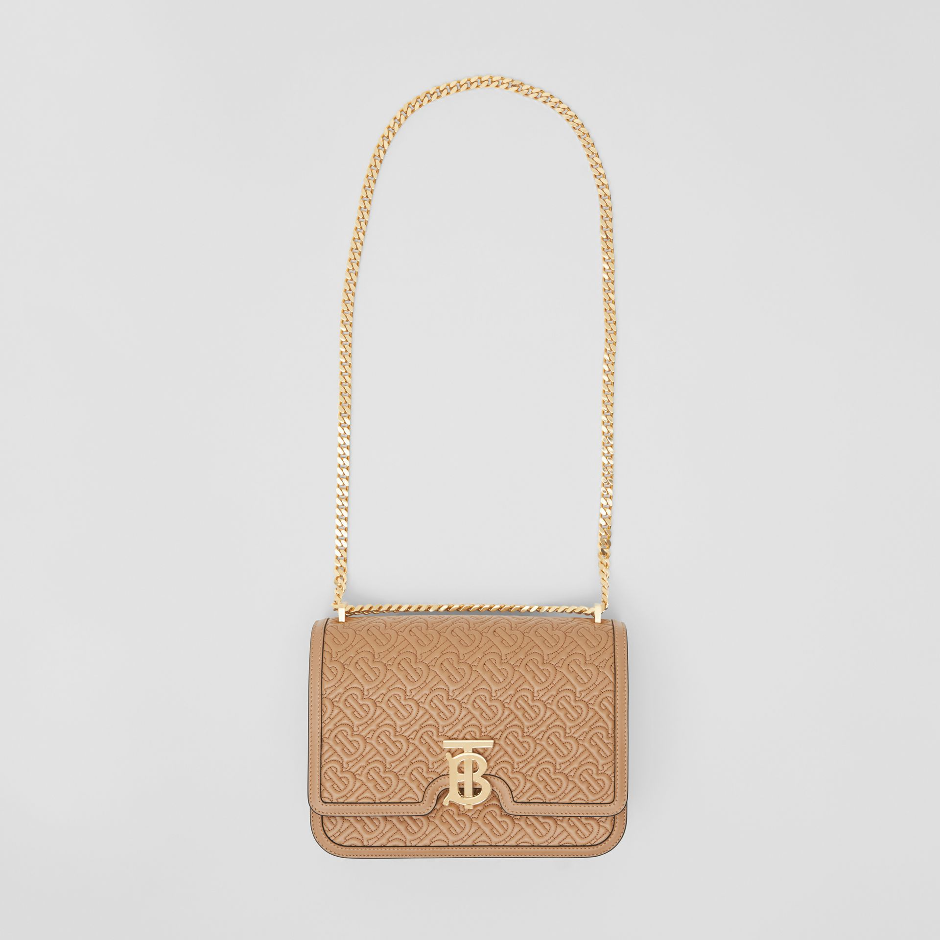 Medium Quilted Monogram Lambskin TB Bag in Honey - Women | Burberry Singapore - gallery image 3