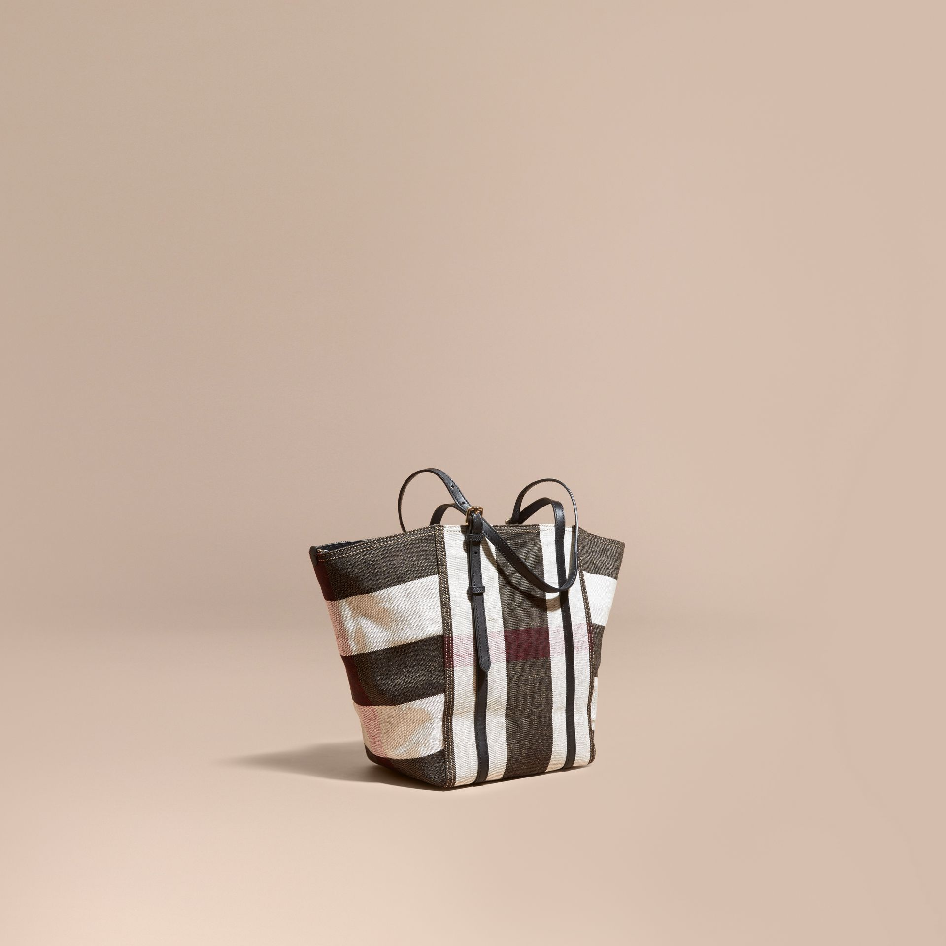 Black Striped Canvas Tote with Leather Trim - gallery image 1