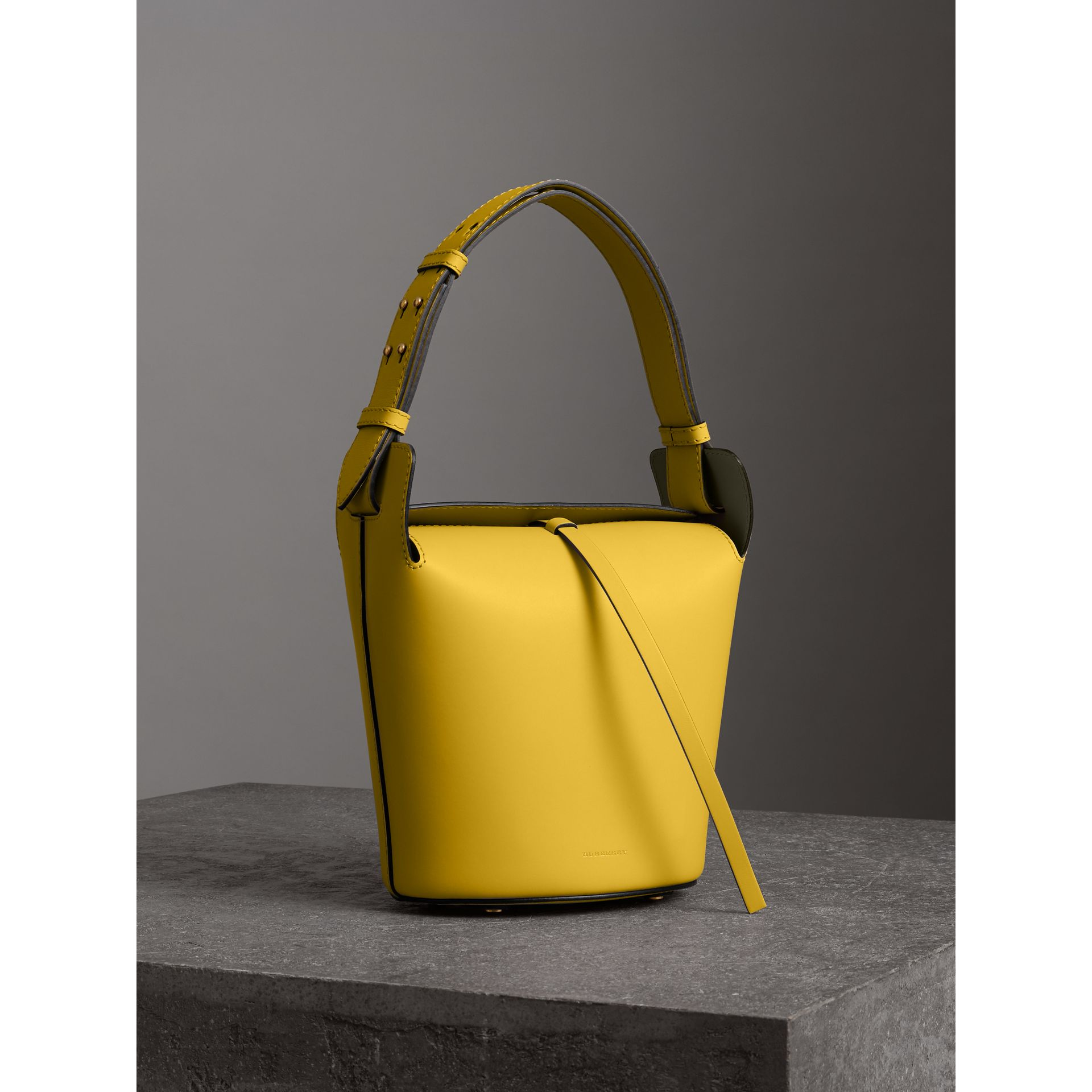 The Small Leather Bucket Bag in Bright Larch Yellow - Women | Burberry United States - gallery image 5