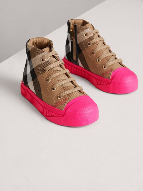 House Check and Leather High-top Sneakers in Classic/neon Pink | Burberry - cell image 3