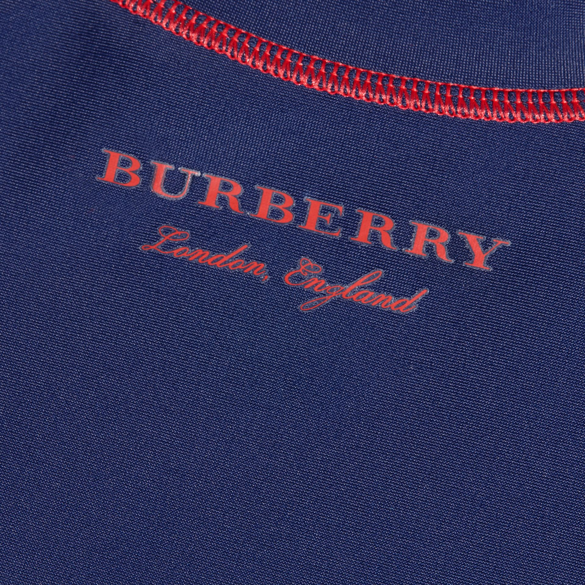 Contrast Topstitch Swim T-shirt in Navy | Burberry - gallery image 2