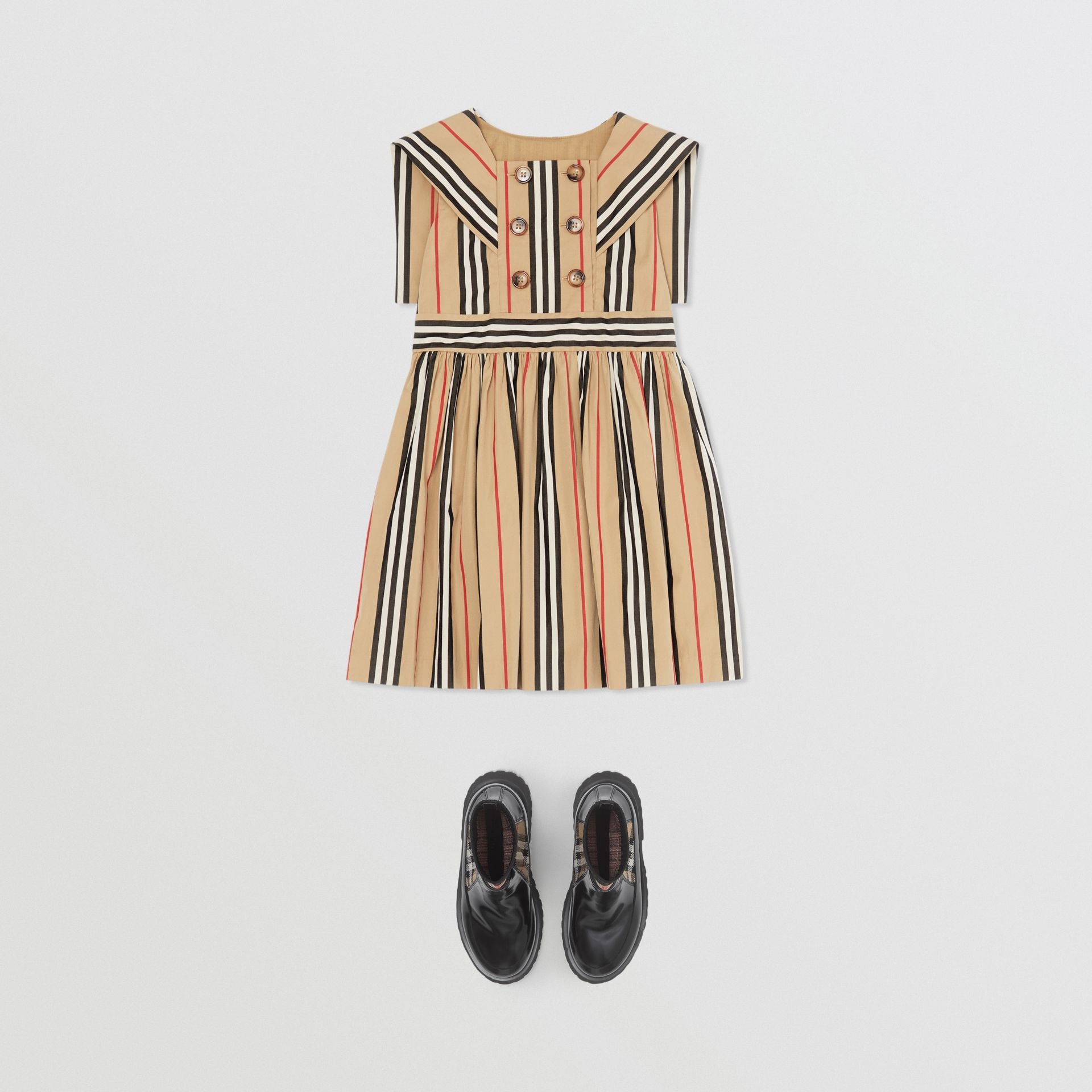 Icon Stripe Cotton Poplin Sailor Dress in Archive Beige | Burberry - gallery image 2