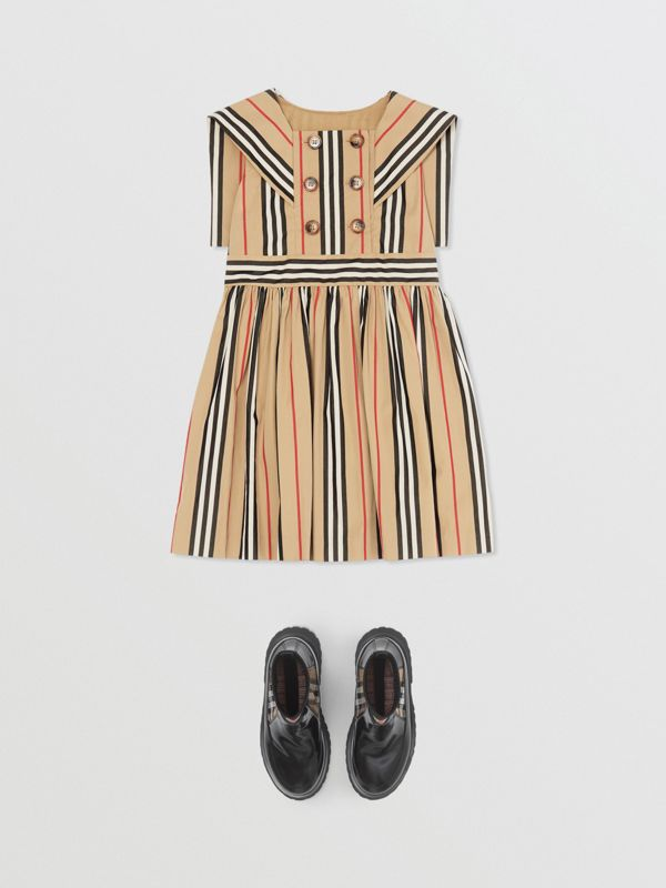 Icon Stripe Cotton Poplin Sailor Dress in Archive Beige | Burberry - cell image 2