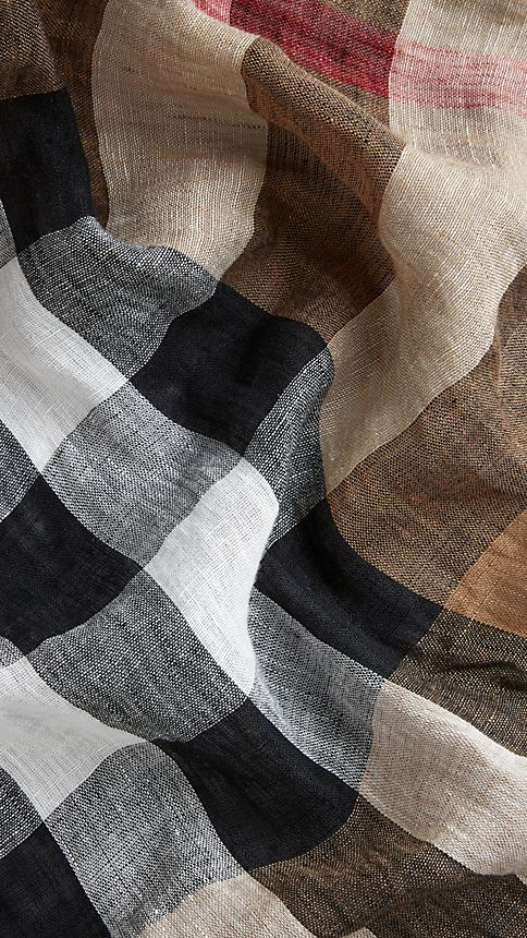 House check/black Check Linen Scarf - Image 5