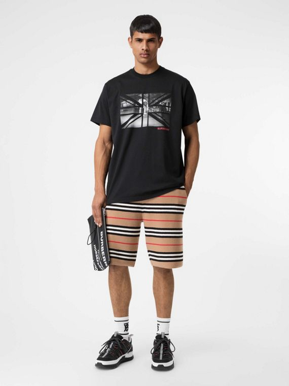 Union Jack Photo Print Cotton Oversized T-shirt in Black