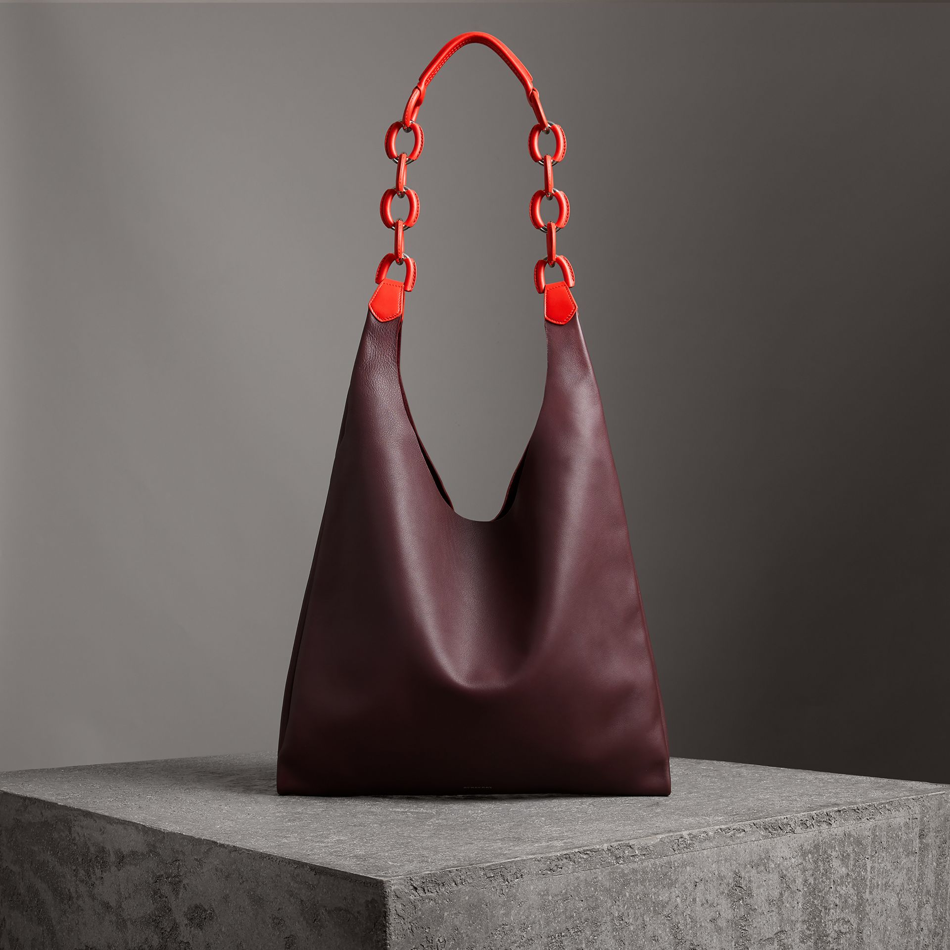 Medium Two-tone Leather Shopper in Deep Claret - Women | Burberry - gallery image 0