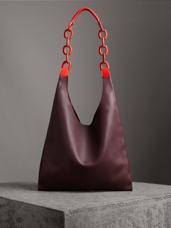 Medium Two-tone Leather Shopper in Deep Claret