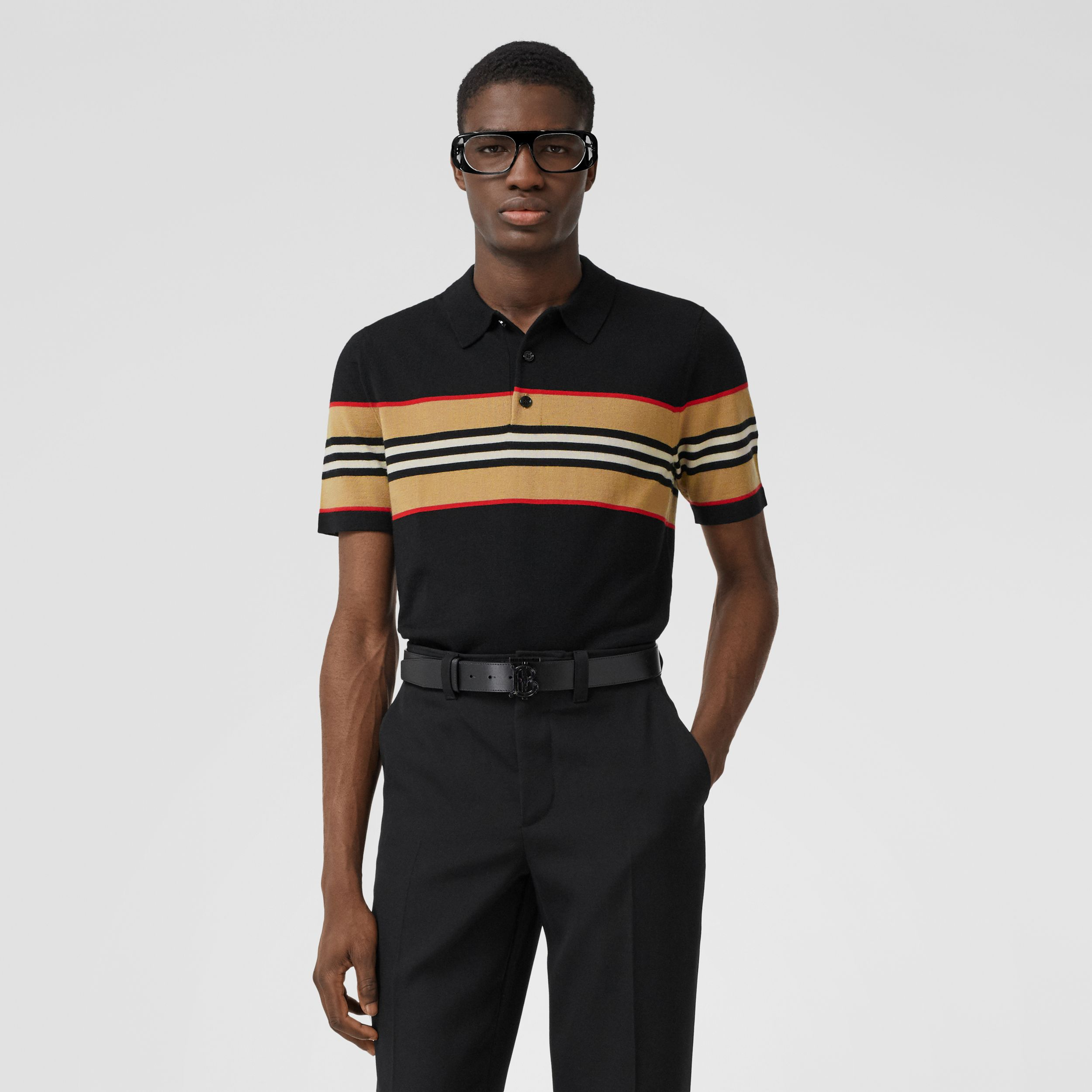Icon Stripe Detail Merino Wool Polo Shirt in Black - Men | Burberry - 1
